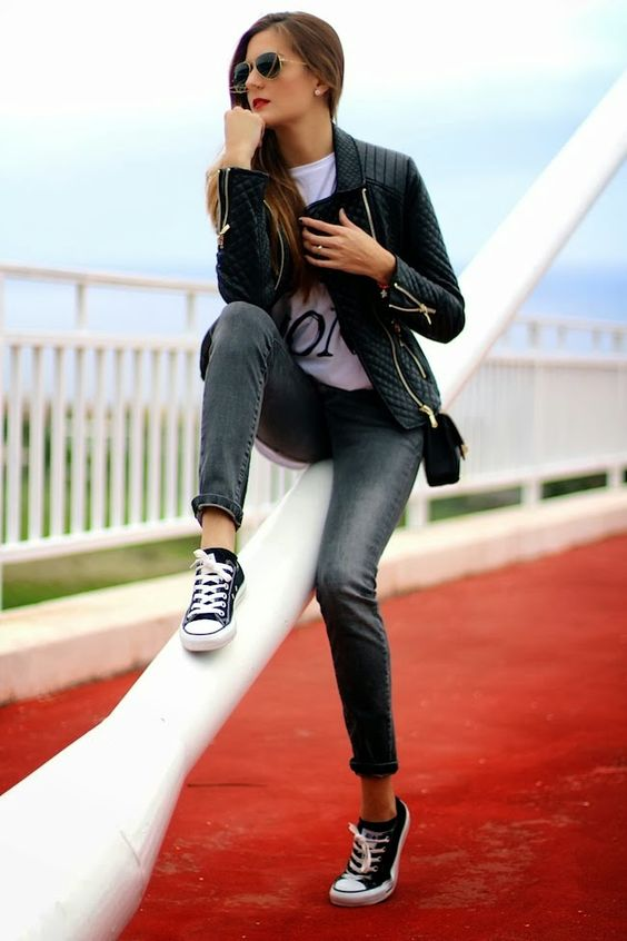 "ph1lm: ""(via Marilyn's Closet - FASHION BLOG: Como combinar tus converse negras / How to combine your black converse) """
