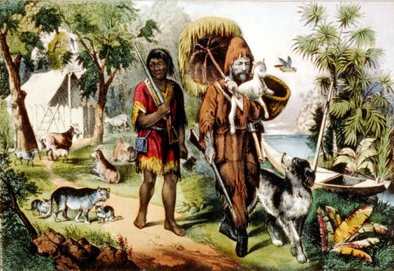 Robinson Crusoe and man Friday, 1874: