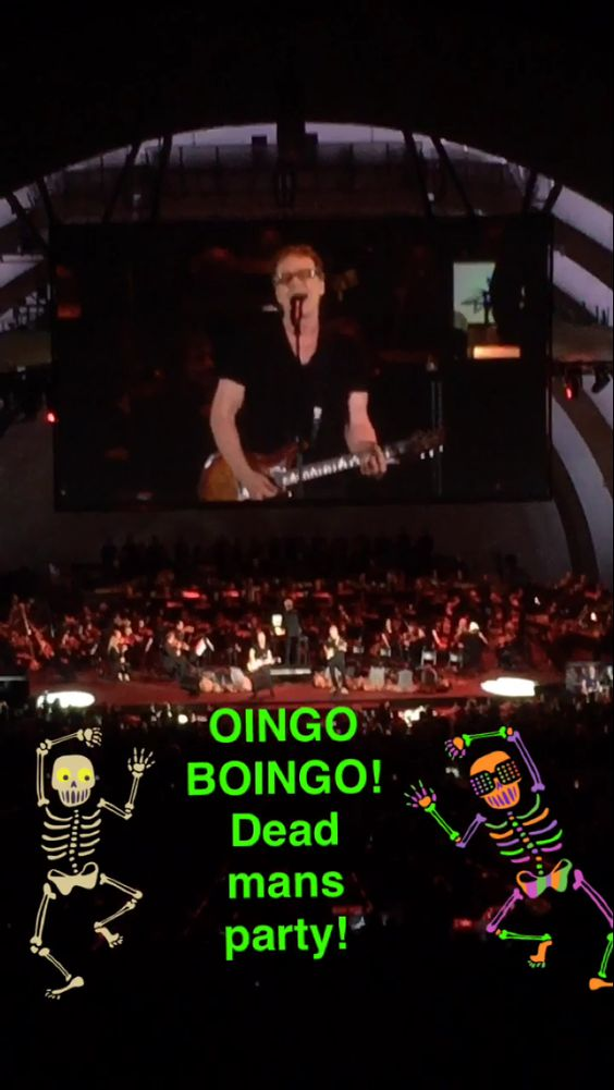 My picture of Danny Elfman performing Dead Mans Party with Steve Bartek at the end of the Nightmare Before Christmas Live on 10-30-16 a.k.a. The best day of my life!