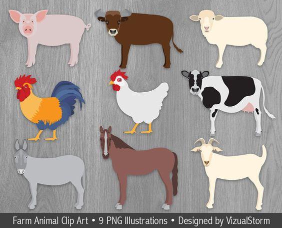 Farm Animal Clipart Barn Animals Clip Art Cow Bull Rooster