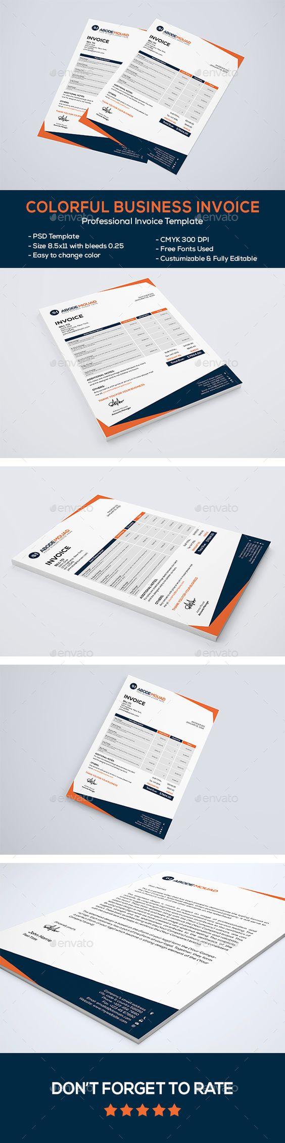 colorful business letterhead | stationery, proposals and letterhead, Invoice examples