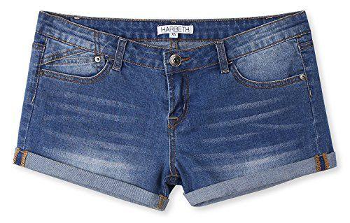 HARBETH Womens Juniors Casual Stretch Fit Low Rise Pockets Trendy Denim Shorts