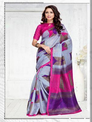 Beautiful Designer Multy Green Silk Printed Saree By Thankar Silk Sarees