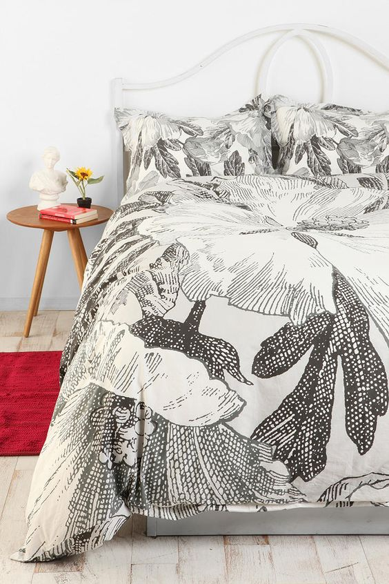 Etched Flower Duvet Cover...add colorful pillows as accent!