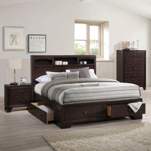 Acme Furniture Madison Storage Bed Brown Storage Bed Queen Bed With Drawers Acme Furniture