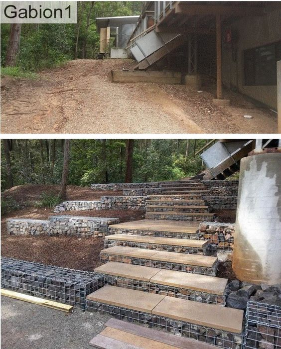 gabion steps and small retaining walls http://www.gabion1.com.au