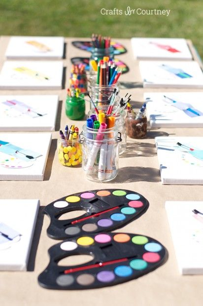 Easy diy kids art themed birthday party craft tables for Arts and crafts stores near my location