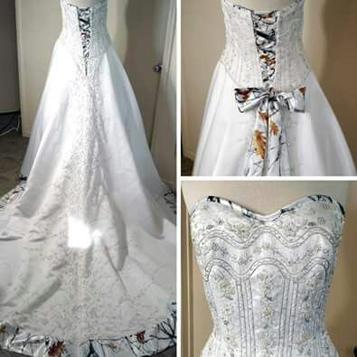 CAMO WEDDING - Isn't this wedding dress gorgeous... Who else LOVES the subtlety of the white camo trim? <3  *Found here: http://yhmc.co/1yow4x