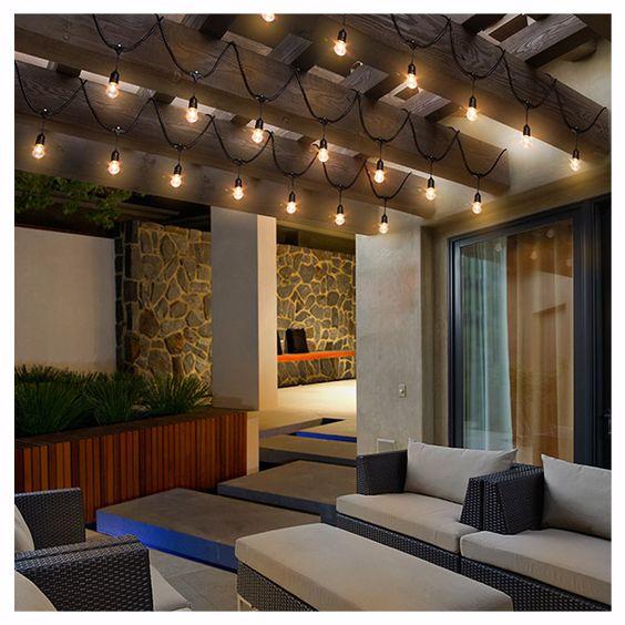Medida 9m incluye 10 focos y 5 focos para repuesto for Luces de jardin exterior
