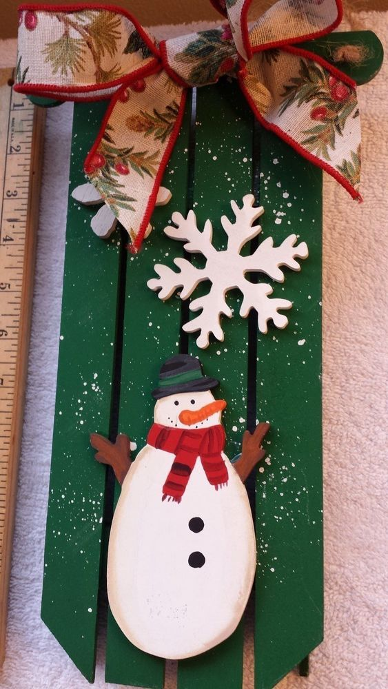 SNOWMAN & SNOW FLAKE SLED HANDMADE AND PAINTED WINTER CHRISTMAS WOOD  DECOR #HANDMADE