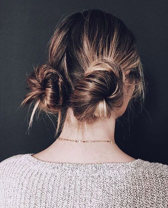 Cute messy hair bun hairstyle