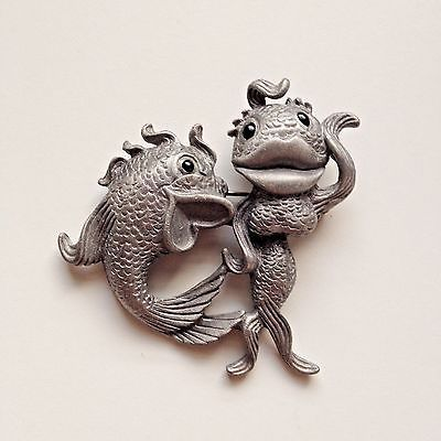 Vintage silver tone pewter whimsical fish brooch singed by A.J.C.