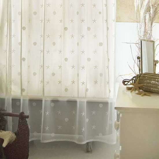 shower curtains | Sand Shell Shower Curtain Set – Heritage Lace ...