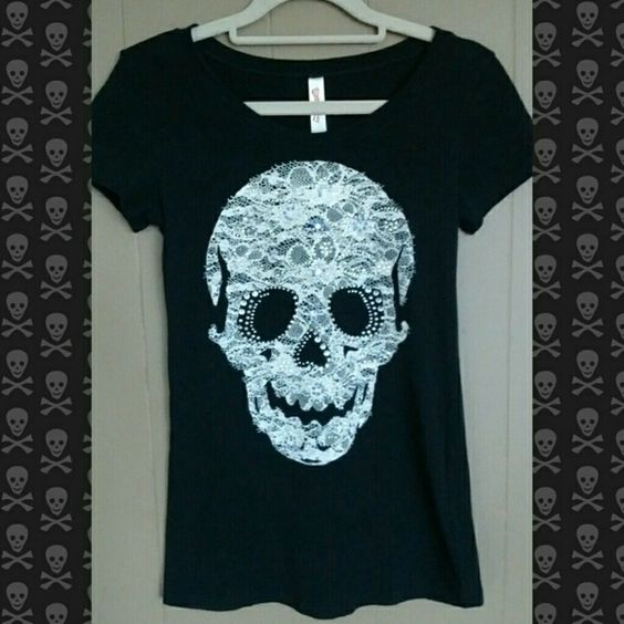 Black skull shirt Price Rhinestone with lace style screen printing. All rhinestones are intact. GUC. Price dropped and will not go any longer. Tops Tees - Short Sleeve