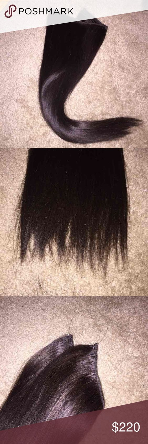 """Halo hair extensions 16"""" 100% Remy Human Hair Halo hair extensions 16"""" 100% Remy Human Hair. 4oz/120grams of hair in each piece. These can be made to order in different hair colors and lengths. Please message for details. Prices may vary if length changes. The halo wire is attached on one side you will custom fit it to the length needed for your head size by tying the final knot. Other"""