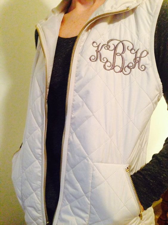 monogrammed women u0026 39 s full zip quilted vest  ivory  black  white  brown  blue  fuschia