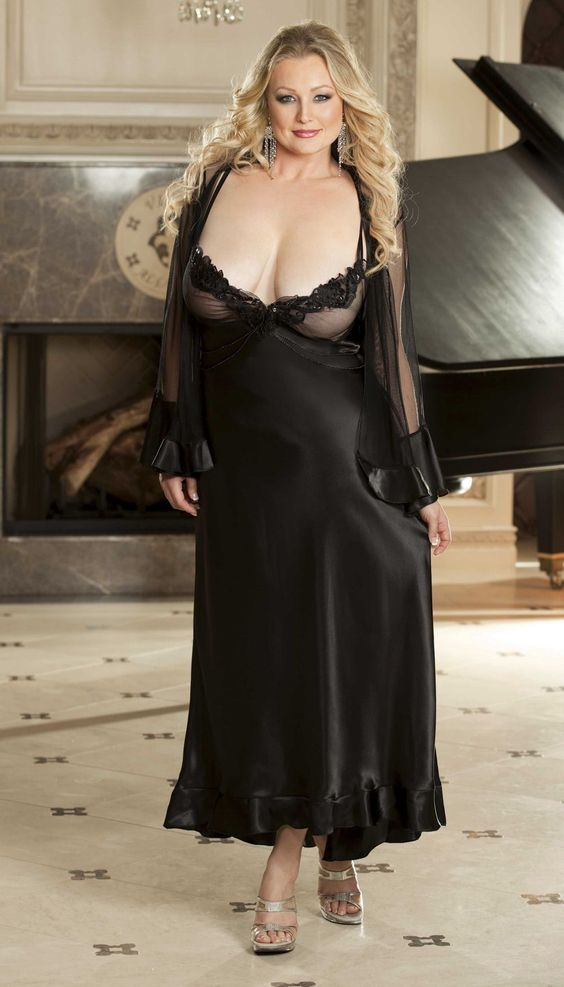 Bbw granny in night gown