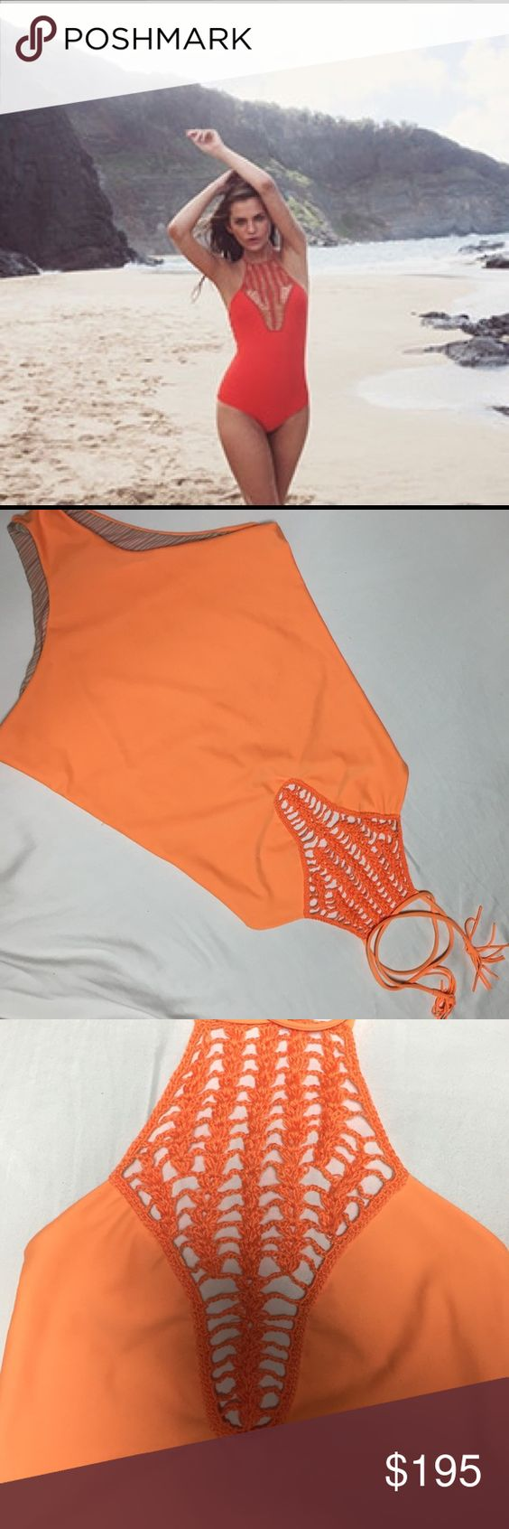 "150🅿️🅿️ Acacia teahupoo one piece Teahupoo one piece. Orange color I think it may be called ""sunset"". Size medium, excellent condition. Not personally worn but me. Make offers. Im open to trades❤️ the first picture is not mines its just to show how it looks on acacia swimwear Swim One Pieces"