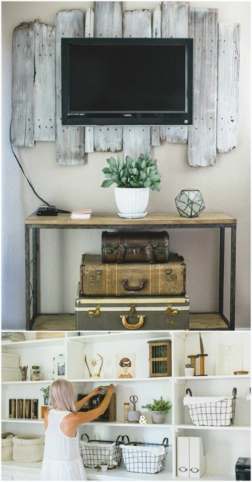 Rustic Custom shelving using old suitcases - 50 Decorative Rustic Storage Projects For a Beautifully Organized Home | Tiny Homes