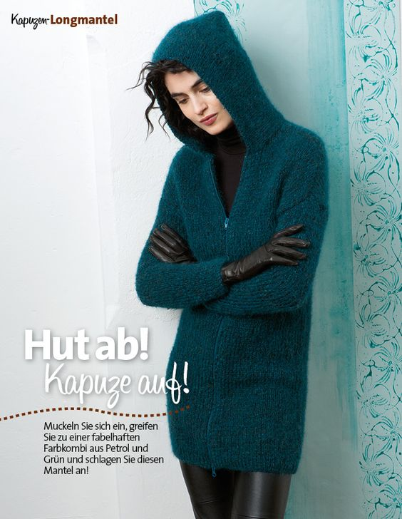 Strickanleitung Blaue Kapuzenjacke Lang Yarns Style Edition 0216