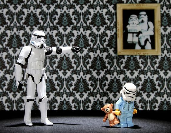 UK-based photographer Andy Wells has been working on his Stormtroopers series since last May 4th (and May the Fourth be with you). These posed photos place Star Wars Stormtrooper action figures and LEGO minifigures in funny situations. Besides the narrative of the father and son pictured above, Wells also photographed Stormtroopers playing board games, wearing the wrong pants to work, and other whimsical concepts.