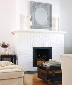 white brick fireplace - Google Search