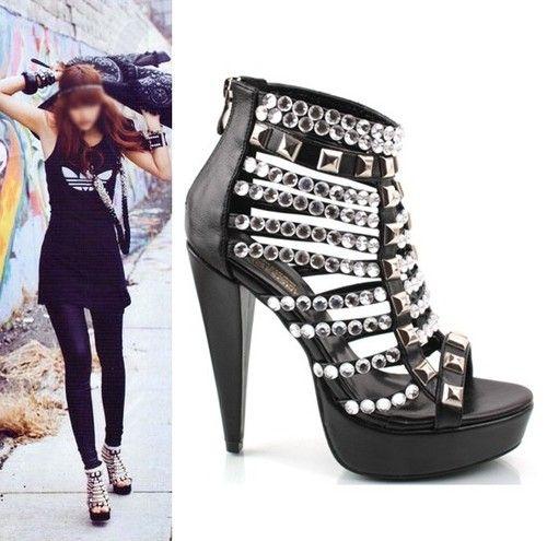 SHOESONE Korean kpop womens party black stud platform high heel