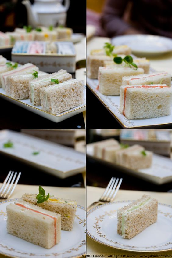 Tea sandwiches- serve smoked salmon-caper-cream cheese, cucumber-avocado, curried chicken salad
