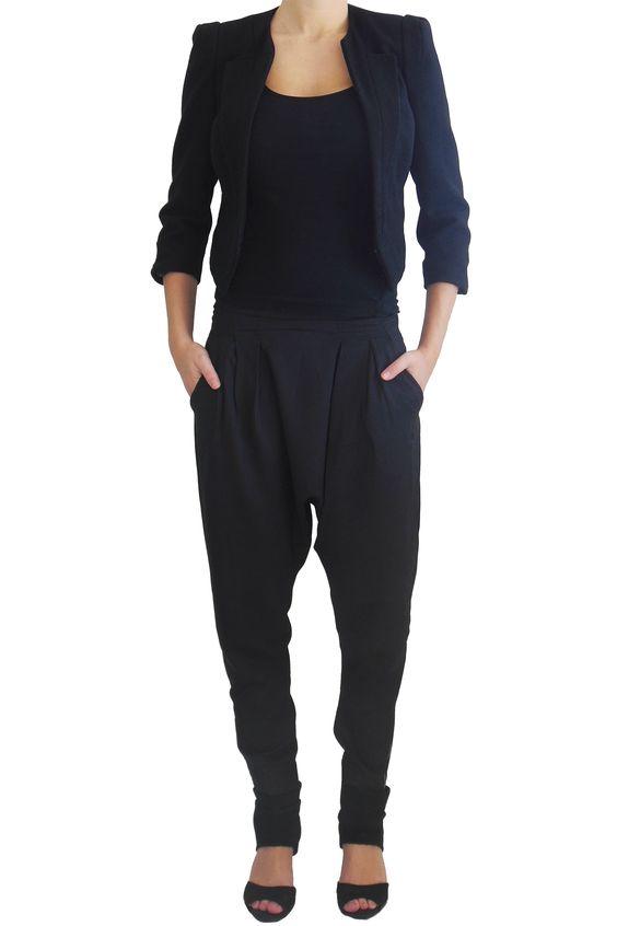 Pantalon sarouel chic noir femme. www.milena,moda.com