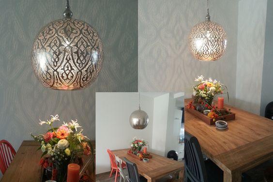Egyptische hanglamp Isra XXL boven eettafel