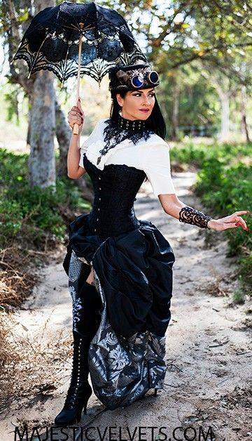 Steampunk Victorian Black Satin Corset w Double Bustle Silver Charcoal Damask Skirt
