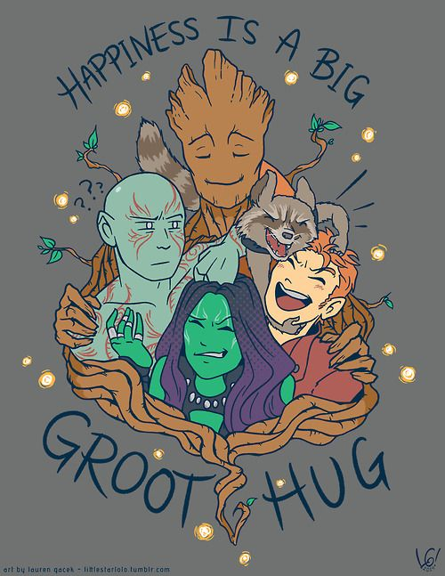 littlestarlolo: happiness is a big groot hug~ i am addicted to drawing space dorks ( ´ ▽ ` )ノ available as a shirt on society6!