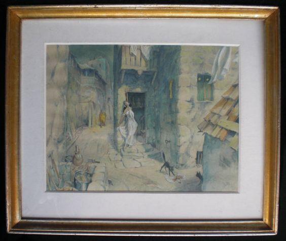 Antikes Aquarellbild des XIX Jahrhunderts von nostalgiehauscom