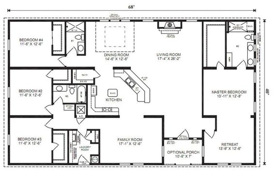 Ranch House Floor Plans 4 Bedroom Love This Simple, No Watered Space Plan    Add A Wraparound Porch, Garage With Additional Storage Room And It Woulu2026