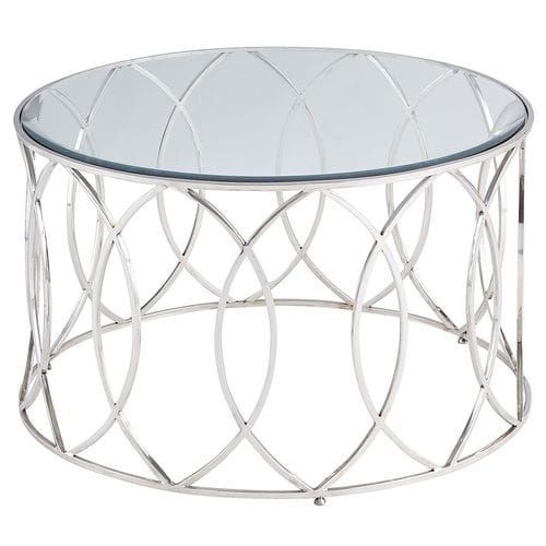 Elana Silver Stainless Steel Round Coffee Table Silver Coffee
