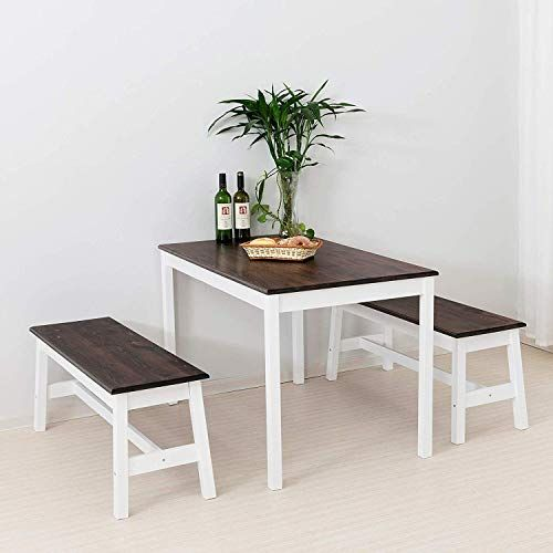 Mecor Wood Dining Table With 2 Benches 3 Piece Kitchen Set Coffee