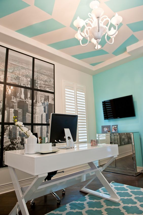 home office tiffany blue and white red egg design group windgate ranch blue office room design