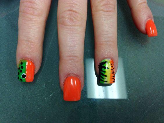 Fishing theme nail art