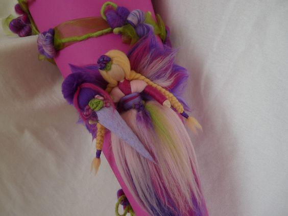 SCHULTÜTE+Elfe+Fee+Waldorf+Art+pink+rosa+lila+von+HolzWolle-SpielKunst+auf+DaWanda.com
