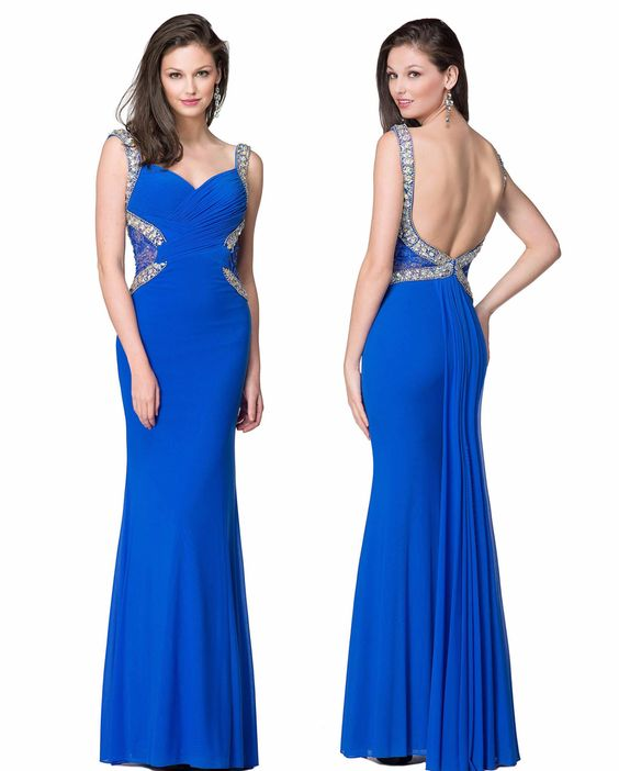 Colors 1294 In Stock Blue Size 14 Jeweled Scoop Back Prom Dress Evening Gown