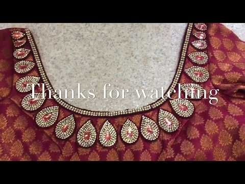 How To Make Designer Blouse At Home Stone Work Blouse Design Youtube Saree Blouse Designs Kerala Saree Blouse Designs Saree Kuchu Designs
