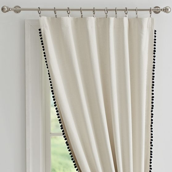 Curtains Ideas blackout drapes and curtains : The Emily + Meritt Pom Pom Blackout Drape | PBteen simple ...