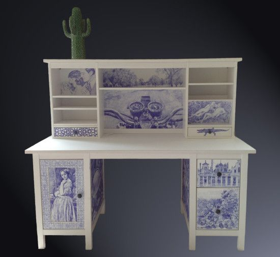 A decorated HEMNES desk in a truly unique way -- Delft blue-white pottery effect illustrations!: