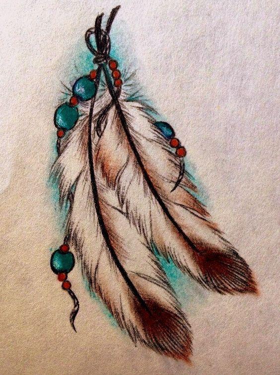 Bead Feather Tattoo Design