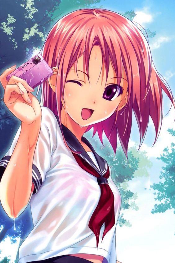 Anime pink hair girl water camera | Anime | Pinterest ...