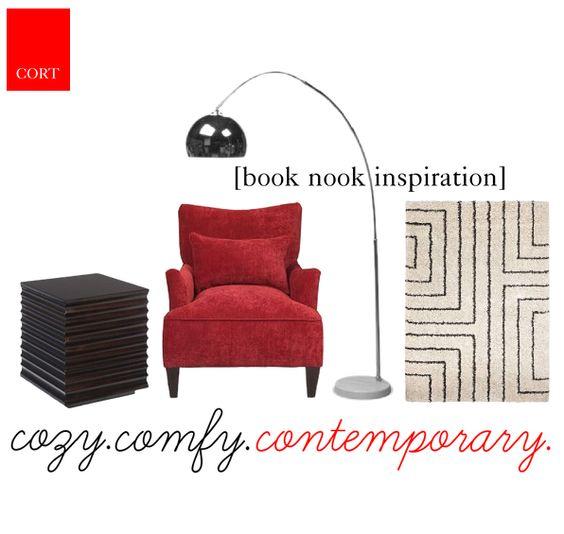 Sun Room Staging Inspiration: turn a naturally-lit sun room into a plush, inviting book nook! Catania Accent Table (go.cort.com/2gy), Ultra Plush Rug (go.cort.com/2hp), Grenadine Chair (go.cort.com/2q3), Arc Floor Lamp (go.cort.com/2q4) | cort.com