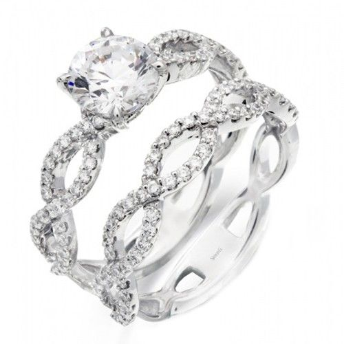 """Simon G """"Twist"""" Diamond Engagement Ring $1716 - this is pretty, i'd want a different band though. Too much going on with the two identical bands bridgettefultz"""