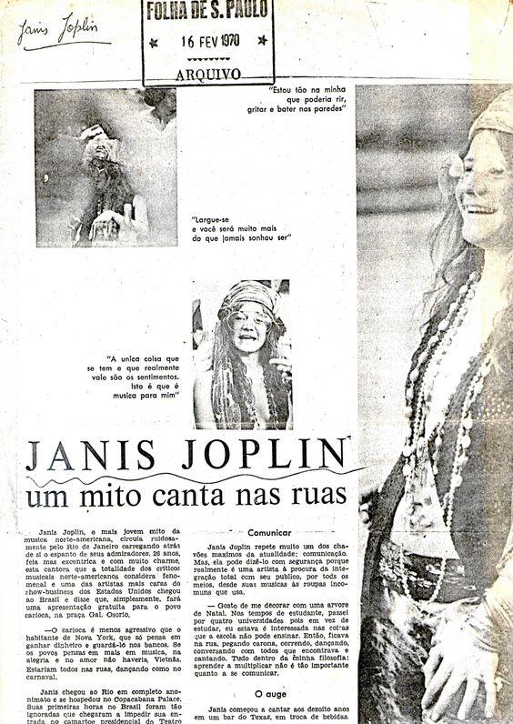 Janis Joplin no Brazil em 1970, matéria da FOLHA DE SÃO PAULO, arquivo.