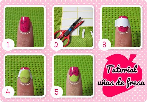 Uñas de fresa / Strawberry nails #Nailart by ManiCute