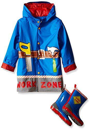 Wippette Boys' Work Zone Rain Jacket and Boot Set *** For more information, visit